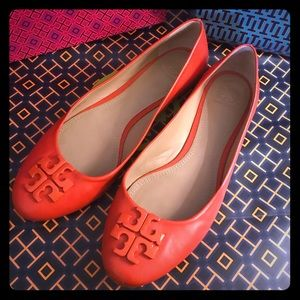 Red Tory Burch flats size 10